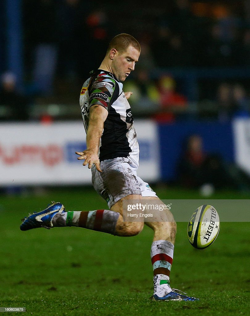 Rory Clegg of Harlequins kicks the ball upfield during the LV= Cup match between Ospreys and Harlequins at Brewery Field on February 3, 2013 in Bridgend, Wales.