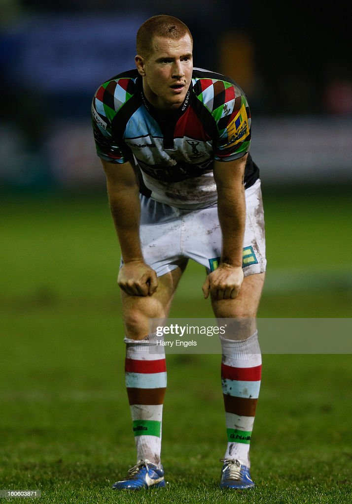 Rory Clegg of Harlequins looks on during the LV= Cup match between Ospreys and Harlequins at Brewery Field on February 3, 2013 in Bridgend, Wales.
