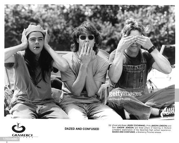 Rory Cochrane as hear no evil Jason London as speak no evil and Sasha Jenson as see no evil in a scene from the film 'Dazed And Confused' 1993