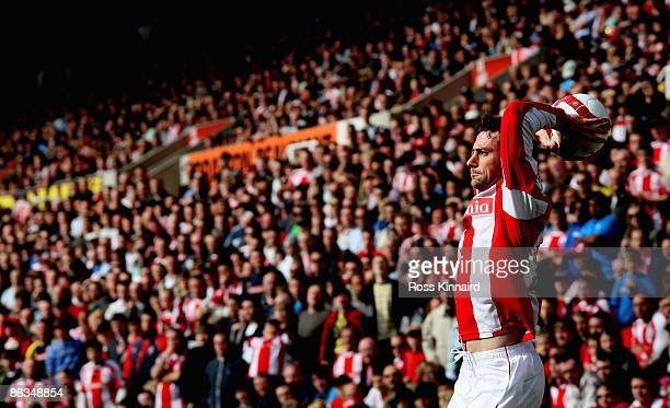 Rory Delap of Stoke unleashes a long throw during the Barclays Premier League match between Stoke City and West Ham United at the Britannia Stadium...