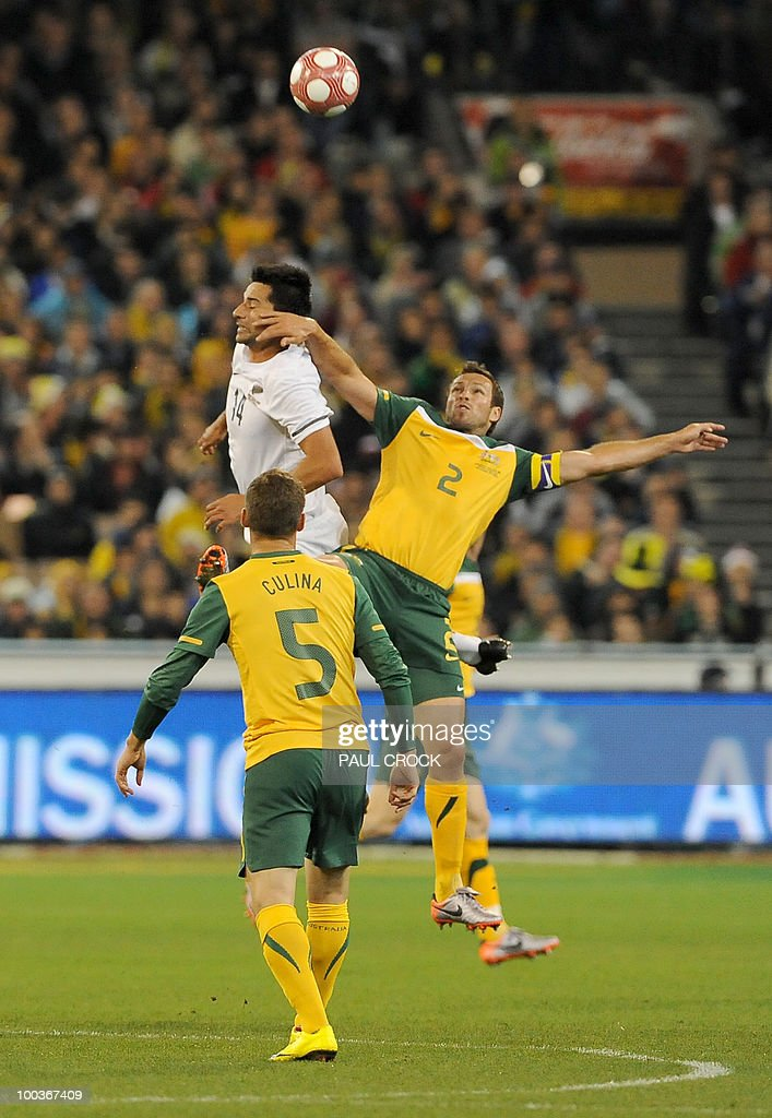 Rory Fallon of New Zealand (back L) heads the ball away from Australian captain Lucas Neill (R) during their friendly international football match in Melbourne on May 24, 2010. Australia won the match 2-1. RESTRICTED
