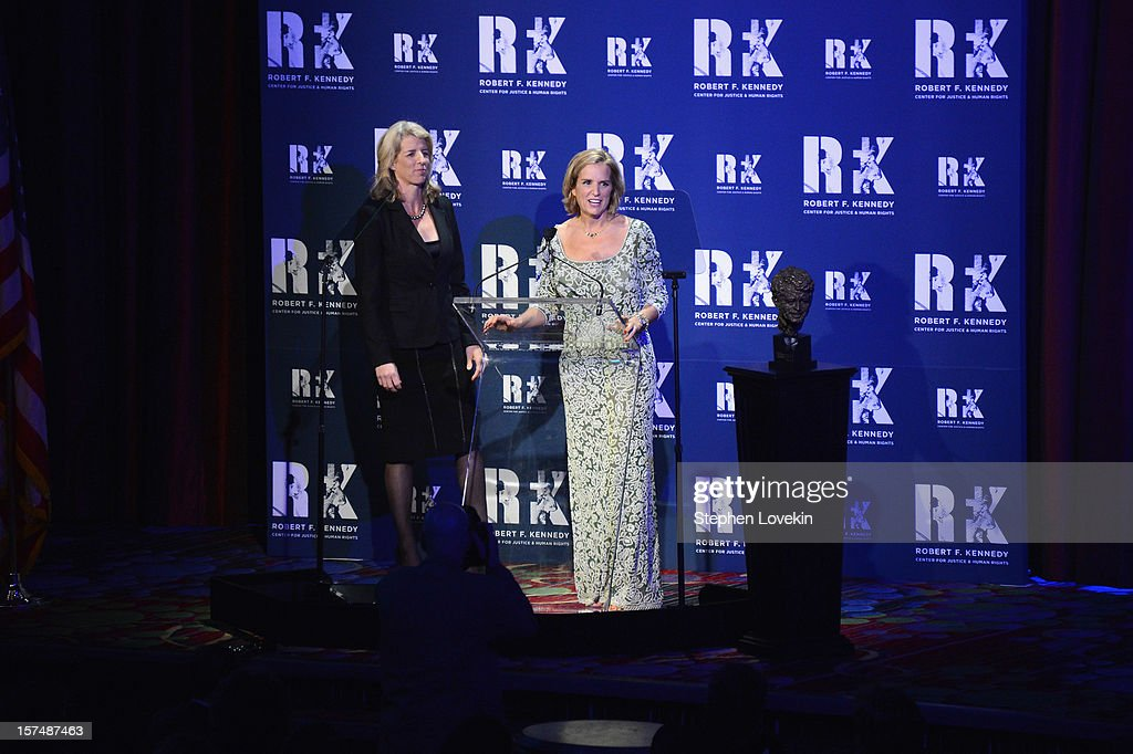 Rory Kennedy (L) and Kerry Kennedy speak onstage at the 2012 Ripple Of Hope Gala at The New York Marriott Marquis on December 3, 2012 in New York City.