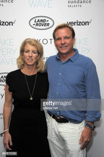 Rory Kennedy and Paul Speaker attend 'Take Every Wave The Life Of Laird Hamilton' New York premiere at The Metrograph on October 4 2017 in New York...