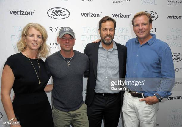 Rory Kennedy Kenny Chesney Mark Bailey and Paul Speaker attend 'Take Every Wave The Life Of Laird Hamilton' New York premiere at The Metrograph on...