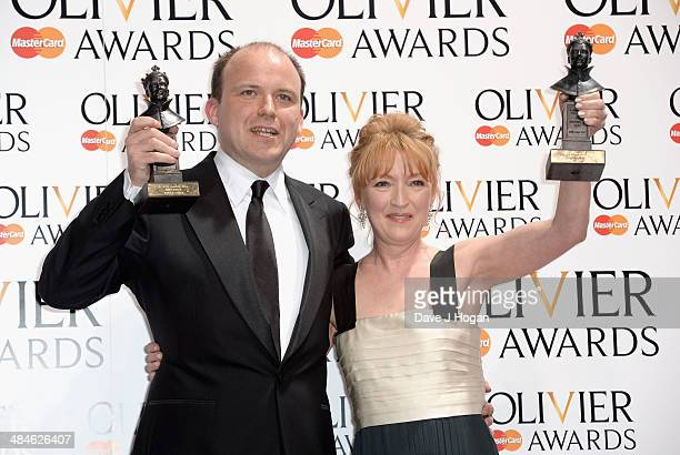 Rory Kinnear with his Best Actor award for Othello and Lesley Manville with her Best Actress award for Ghosts during the Laurence Olivier Awards at...