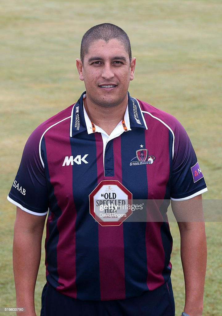 <a gi-track='captionPersonalityLinkClicked' href=/galleries/search?phrase=Rory+Kleinveldt&family=editorial&specificpeople=5434578 ng-click='$event.stopPropagation()'>Rory Kleinveldt</a> of Northamptonshire CCC Steelbacks poses for a portrait during the media day held at The County Ground on April 8, 2016 in Northampton, England.