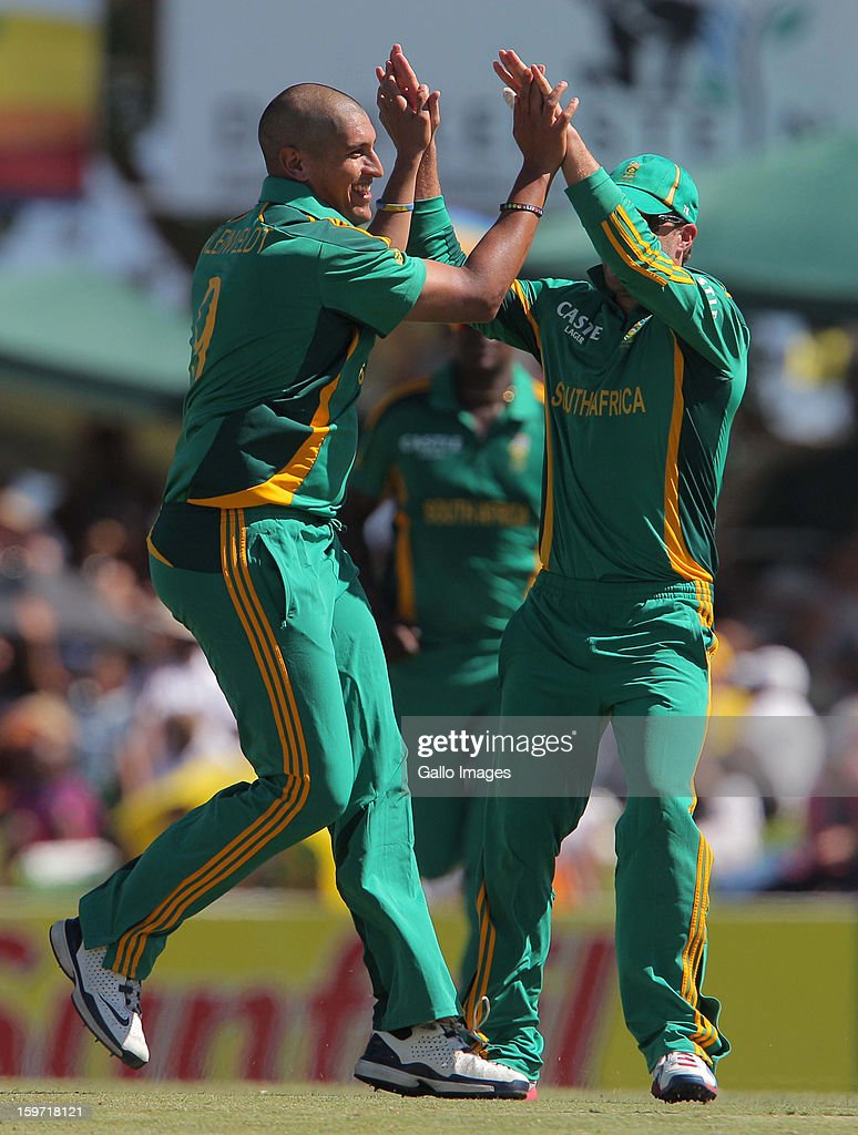 Rory Kleinveldt of South Africa celebrates a wicket during the 1st One Day International match between South Africa and New Zealand at Boland Park on January 19, 2013 in Paarl, South Africa.