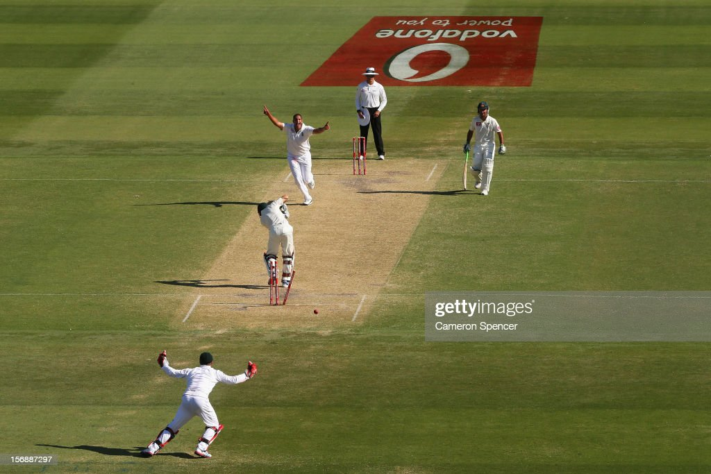 Rory Kleinveldt of South Africa celebrates taking the wicket of <a gi-track='captionPersonalityLinkClicked' href=/galleries/search?phrase=Ed+Cowan&family=editorial&specificpeople=2207390 ng-click='$event.stopPropagation()'>Ed Cowan</a> of Australia during day three of the Second Test Match between Australia and South Africa at Adelaide Oval on November 24, 2012 in Adelaide, Australia.