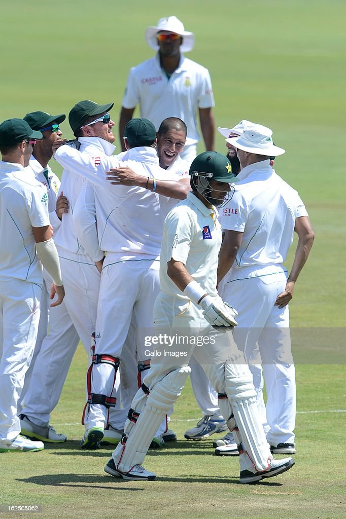 Rory Kleinveldt of South Africa celebrates the wicket of Misbah-ul-Haq of Pakistan with his team mates during day 3 of the 3rd Test match between South Africa and Pakistan at SuperSport Park on February 24, 2013 in Pretoria, South Africa,