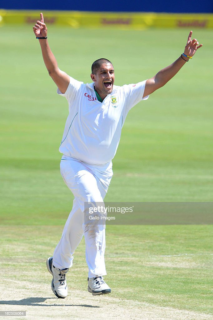 Rory Kleinveldt of South Africa celebrates the wicket of Misbah-ul-Haq of Pakistan during day 3 of the 3rd Test match between South Africa and Pakistan at SuperSport Park on February 24, 2013 in Pretoria, South Africa,