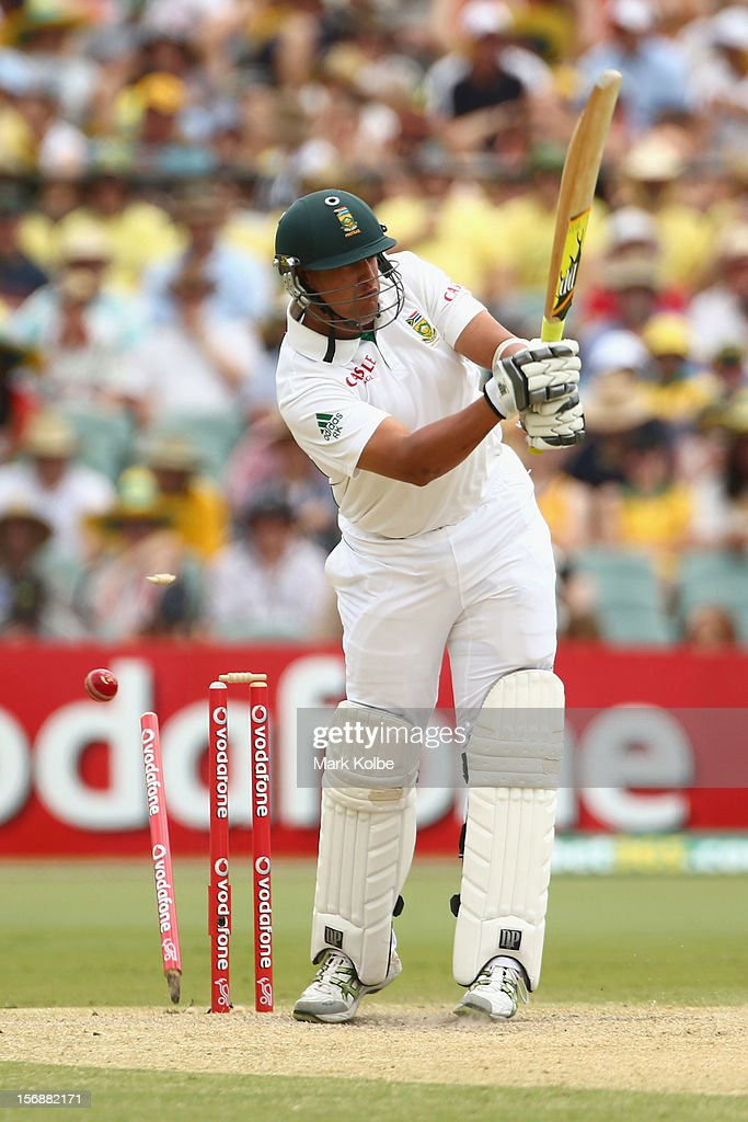 Rory Kleinveldt of South Africa is bowled by Ben Hilfenhaus of Australia during day two of the Second Test match between Australia and South Africa at Adelaide Oval on November 23, 2012 in Adelaide, Australia.