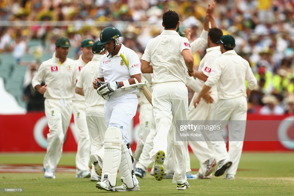 Rory Kleinveldt of South Africa leaves the field after being bowled by Ben Hilfenhaus of Australia during day two of the Second Test match between Australia and South Africa at Adelaide Oval on November 23, 2012 in Adelaide, Australia.