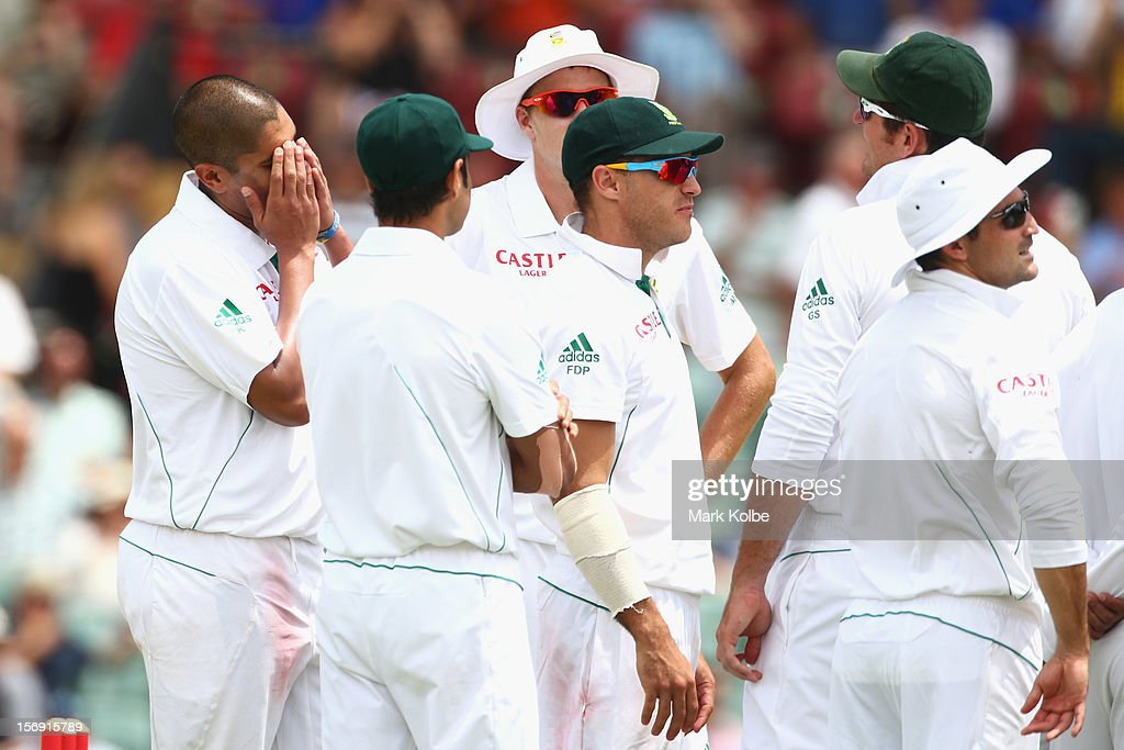 Rory Kleinveldt of South Africa shows his frustration after taking a wicket only to have it over turned by the third umpire for a no-ball during day four of the Second Test Match between Australia and South Africa at Adelaide Oval on November 25, 2012 in Adelaide, Australia.