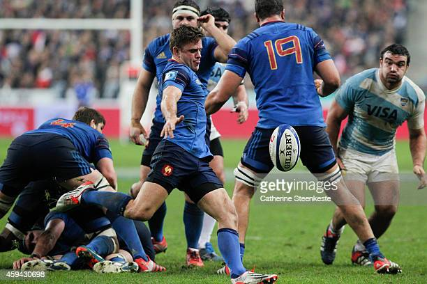 Rory Kockott of the French National team is kicking the ball during the game between France and Argentina at Stade de France on November 22 2014 in...