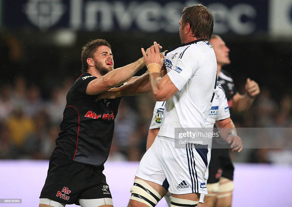 Rory Kockott of the Sharks picka a fight with Andries Bekker of the Stormers during the Super 14 match between Sharks and Vodacom Stormers at Absa...