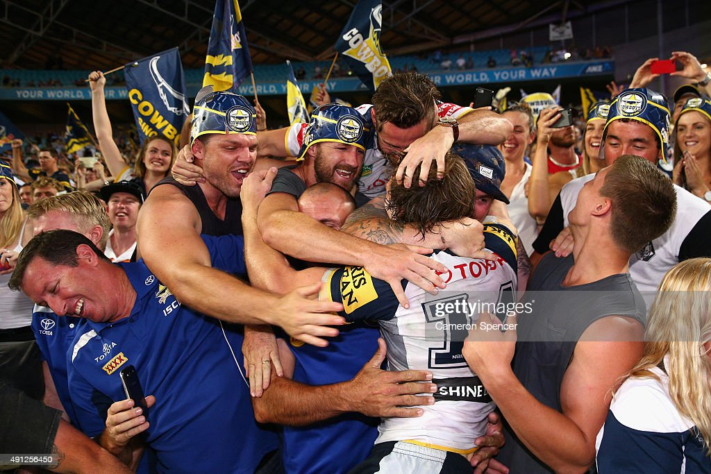 Rory Kostjasyn of the Cowboys celebrates with fans after winning the 2015 NRL Grand Final match between the Brisbane Broncos and the North Queensland Cowboys at ANZ Stadium on October 4, 2015 in Sydney, Australia.