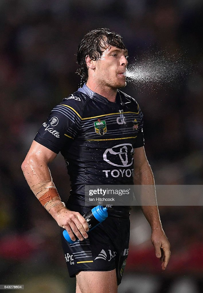 Rory Kostjasyn of the Cowboys spits out water during the round 16 NRL match between the North Queensland Cowboys and the Manly Sea Eagles at 1300SMILES Stadium on June 27, 2016 in Townsville, Australia.