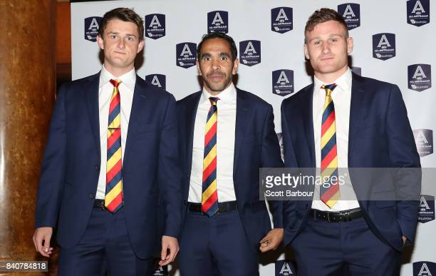 Rory Laird Eddie Betts and Matt Crouch of the Crows arrive during the AFL All Australian team announcement at the Palais Theatre on August 30 2017 in...