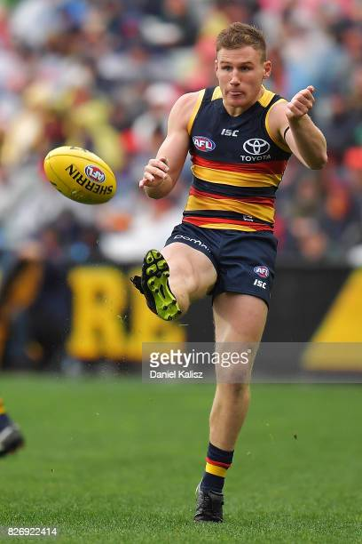 Rory Laird of the Crows kicks the ball during the round 20 AFL match between the Adelaide Crows and the Port Adelaide Power at Adelaide Oval on...
