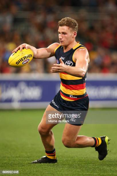 Rory Laird of the Crows kicks the ball during the round four AFL match between the Adelaide Crows and the Essendon Bombers at Adelaide Oval on April...