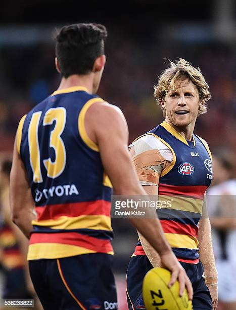 Rory Laird of the Crows looks on during the round 11 AFL match between the Adelaide Crows and the St Kilda Saints at Adelaide Oval on June 5 2016 in...