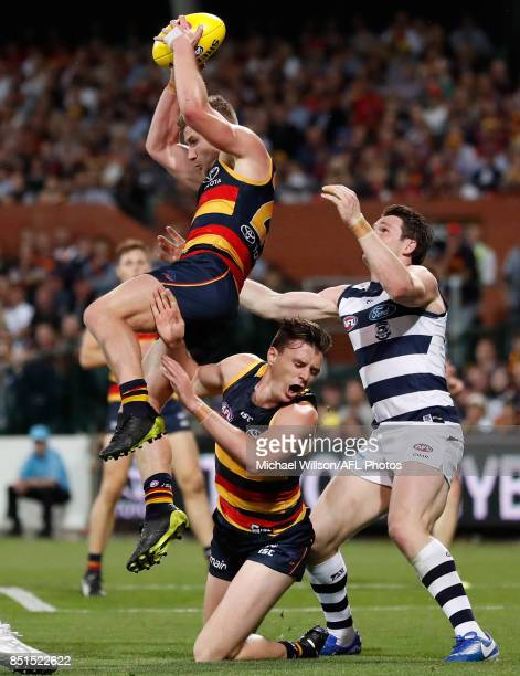 Rory Laird of the Crows marks the ball during the 2017 AFL First Preliminary Final match between the Adelaide Crows and the Geelong Cats at Adelaide...