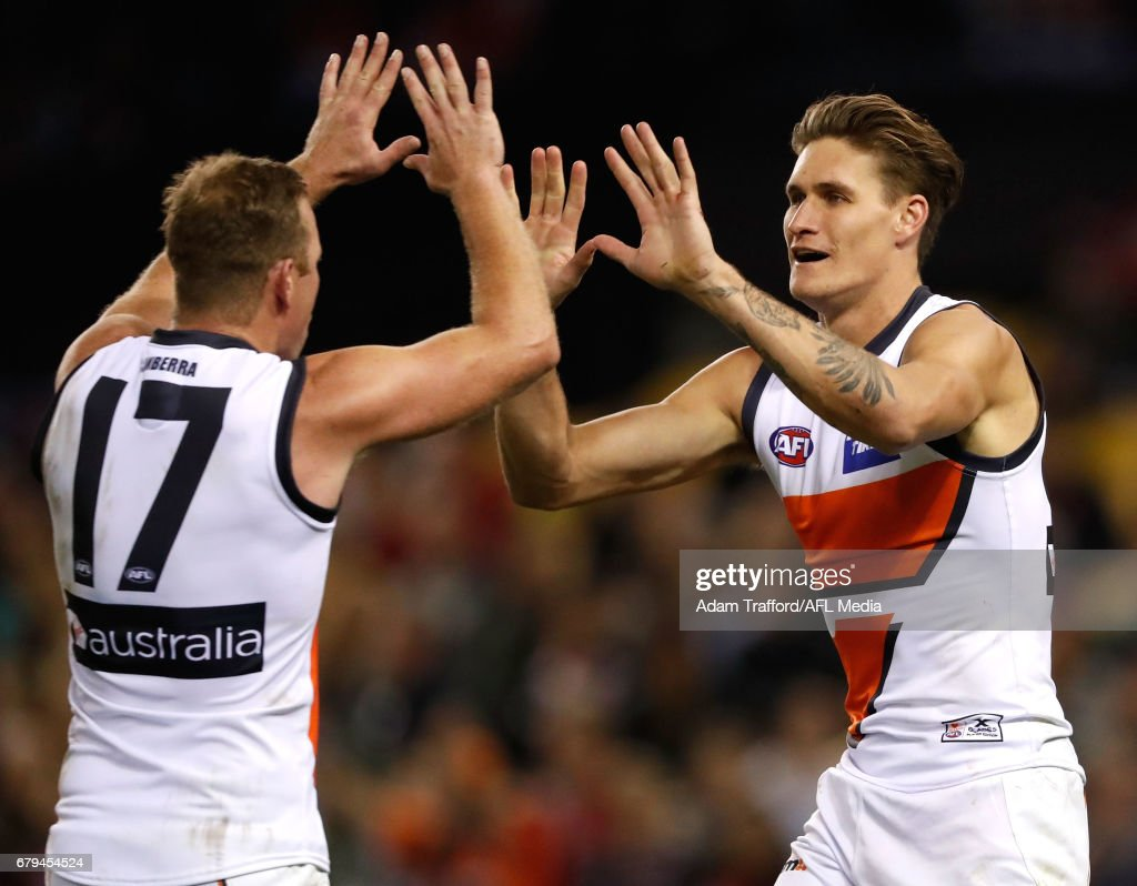 Rory Lobb of the Giants (right) celebrates a goal with Steve Johnson of the Giants during the 2017 AFL round 07 match between the St Kilda Saints and the GWS Giants at Etihad Stadium on May 05, 2017 in Melbourne, Australia.