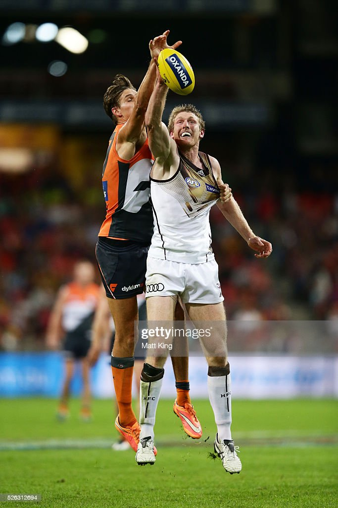 Rory Lobb of the Giants competes for the ball against Ben McEvoy of the Hawks during the round six AFL match between the Greater Western Sydney Giants and the Hawthorn Hawks at Spotless Stadium on April 30, 2016 in Sydney, Australia.
