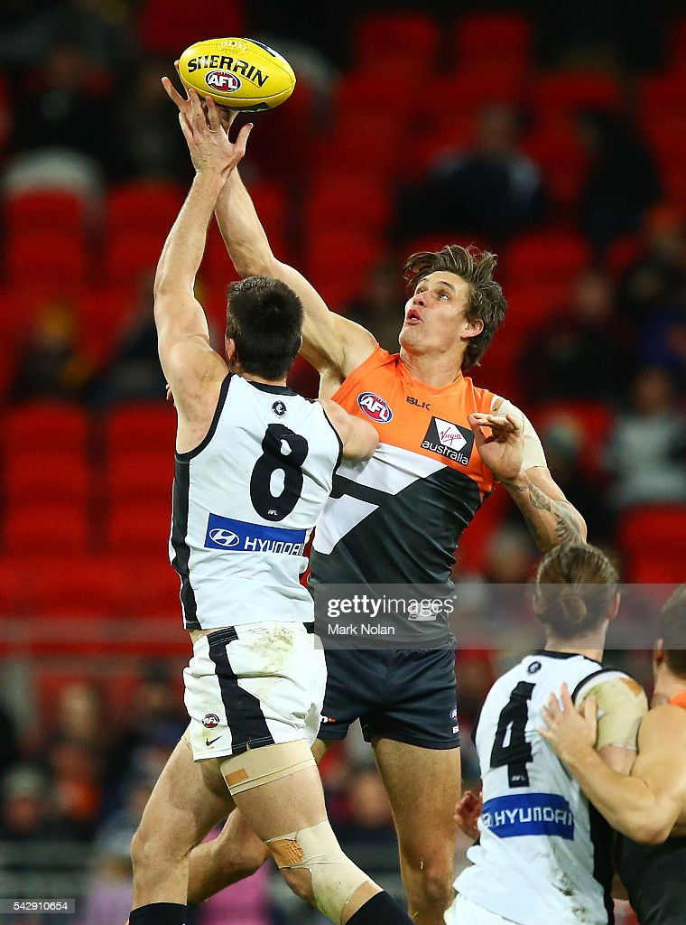 Rory Lobb of the Giants in action during the round 14 AFL match between the Greater Western Sydney Giants and the Carlton Blues at Spotless Stadium on June 25, 2016 in Sydney, Australia.