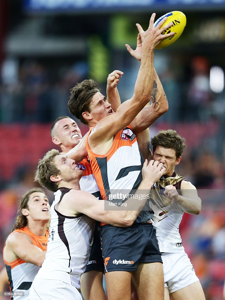 Rory Lobb of the Giants is challenged during the round six AFL match between the Greater Western Sydney Giants and the Hawthorn Hawks at Spotless Stadium on April 30, 2016 in Sydney, Australia.