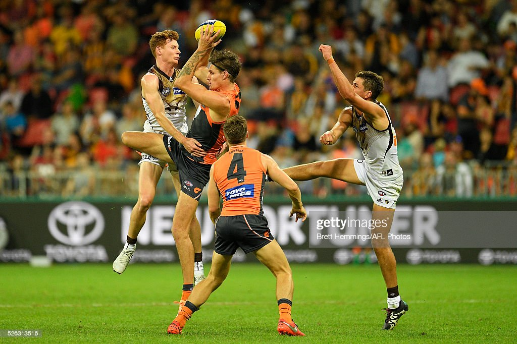 Rory Lobb of the Giants takes a mark during the round six AFL match between the Greater Western Sydney Giants and the Hawthorn Hawks at Spotless Stadium on April 30, 2016 in Sydney, Australia.