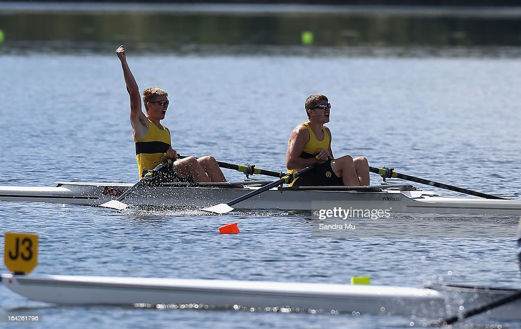 Rory MacGregor (R) and Ari Palsson of Whakatane High celebrate winning the boys U17 double sculls final during day five of the Maadi Cup at Lake Karapiro on March 22, 2013 in Cambridge, New Zealand.