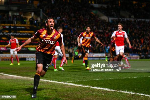 Rory McArdle of Bradford City celebrates after scoring a goal to make it 10 during the Sky Bet League One Playoff Semi Final First Leg match between...