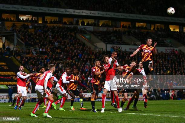 Rory McArdle of Bradford City scores a goal to make it 10 during the Sky Bet League One Playoff Semi Final First Leg match between Bradford City and...