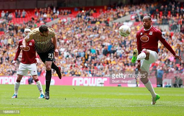 Rory McArdle of Bradford scores their second goal during the npower League Two Play Off Final between Bradford City and Northampton Town at Wembley...
