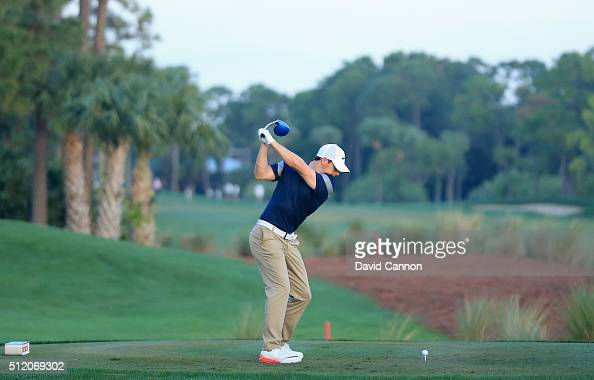 Rory McIlory of Northern Ireland hits a driver during the proam as a preview for the 2016 Honda Classic held on the PGA National Course at the PGA...