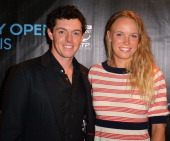 Rory McIlroy and Caroline Wozniacki arrives at Sony Open Player Party 2013 at JW Marriott Marquis on March 19 2013 in Miami Florida