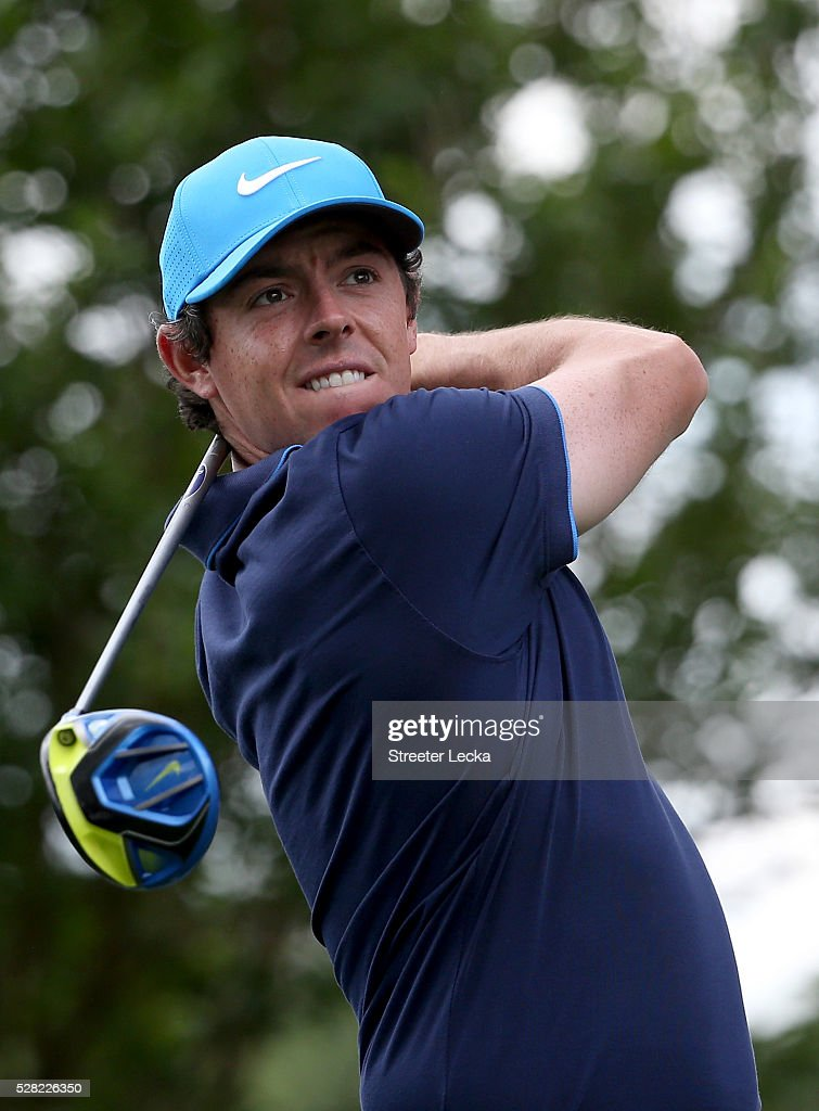 <a gi-track='captionPersonalityLinkClicked' href=/galleries/search?phrase=Rory+McIlroy&family=editorial&specificpeople=783109 ng-click='$event.stopPropagation()'>Rory McIlroy</a> hits a tee shot ahead of the 2016 Wells Fargo Championship at Quail Hollow Club on May 11, 2016 in Charlotte, North Carolina.
