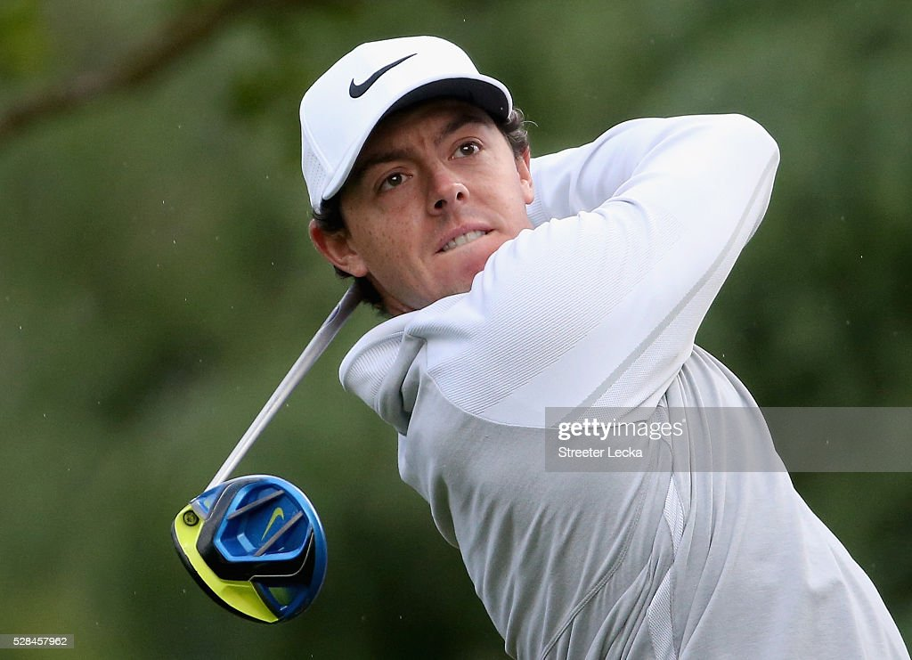 Rory McIlroy hits a tee shot on the 11th hole during the first round of the 2016 Wells Fargo Championship at Quail Hollow Club on May 5, 2016 in Charlotte, North Carolina.