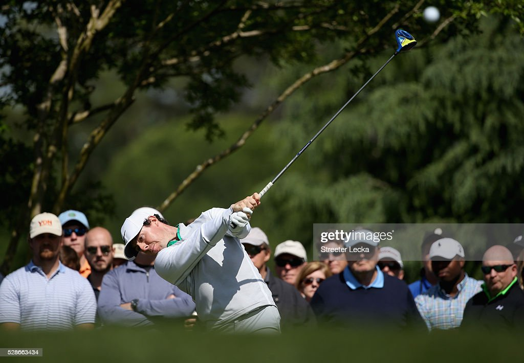Rory McIlroy hits a tee shot on the 11th hole during the second round of the 2016 Wells Fargo Championship at Quail Hollow Club on May 6, 2016 in Charlotte, North Carolina.