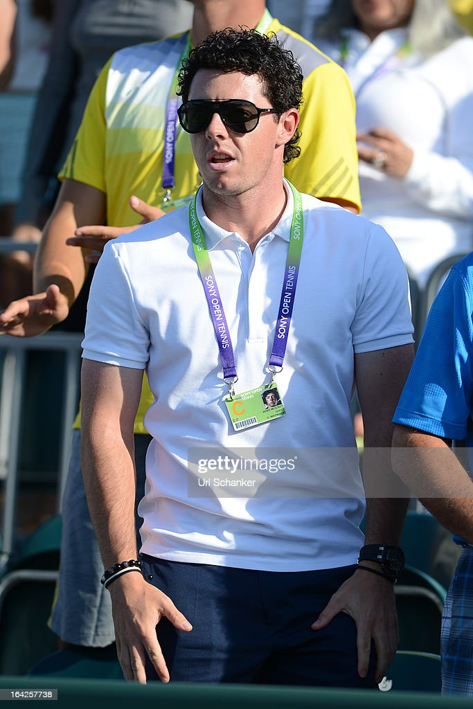 <a gi-track='captionPersonalityLinkClicked' href=/galleries/search?phrase=Rory+McIlroy&family=editorial&specificpeople=783109 ng-click='$event.stopPropagation()'>Rory McIlroy</a> is sighted at the Sony Tennis Open 2013 at Crandon Park Tennis Center on March 21, 2013 in Key Biscayne, Florida.