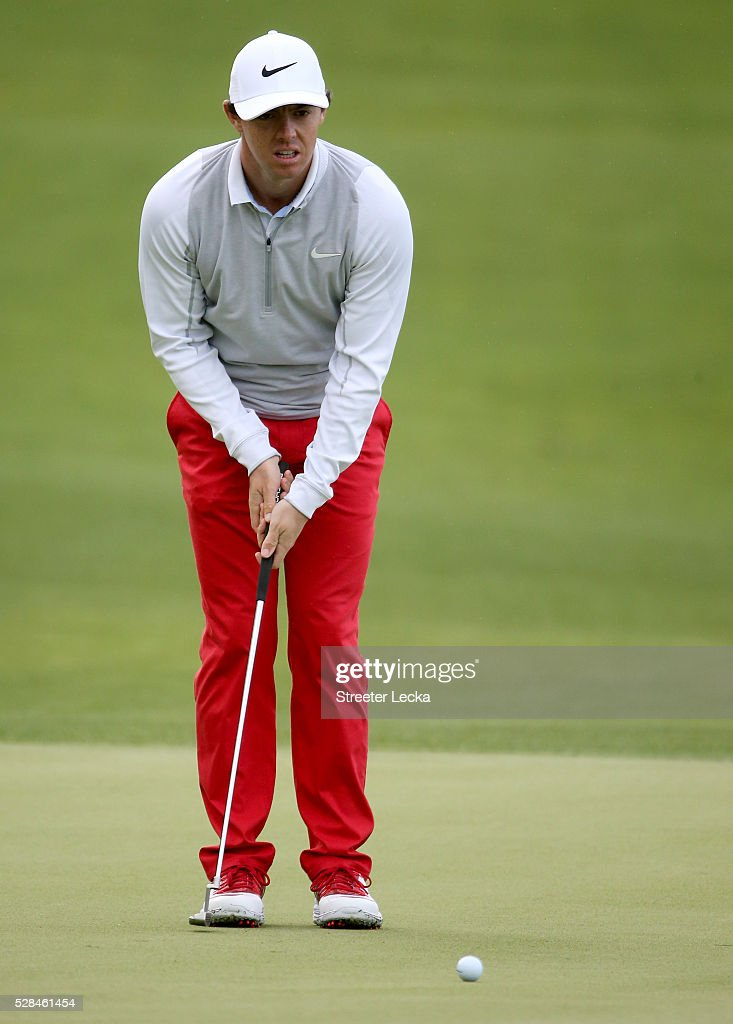 <a gi-track='captionPersonalityLinkClicked' href=/galleries/search?phrase=Rory+McIlroy&family=editorial&specificpeople=783109 ng-click='$event.stopPropagation()'>Rory McIlroy</a> lines up a putt on the 14th hole during the first round of the 2016 Wells Fargo Championship at Quail Hollow Club on May 5, 2016 in Charlotte, North Carolina.