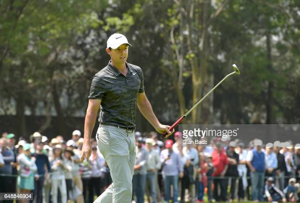 Rory McIlroy Northern Ireland acknowledges the gallery on the second hole during the final round of the World Golf ChampionshipsMexico Championship...