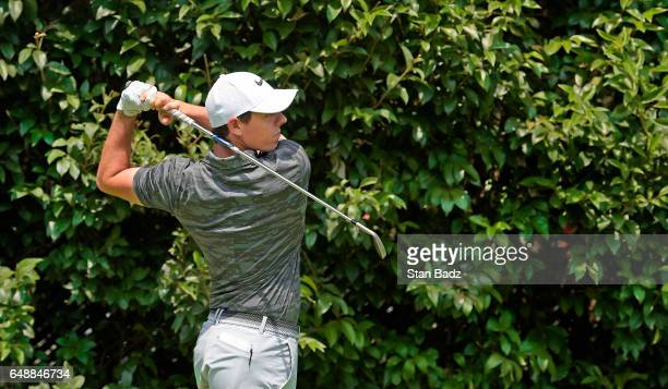 Rory McIlroy Northern Ireland plays a tee shot on the second hole during the final round of the World Golf ChampionshipsMexico Championship at Club...