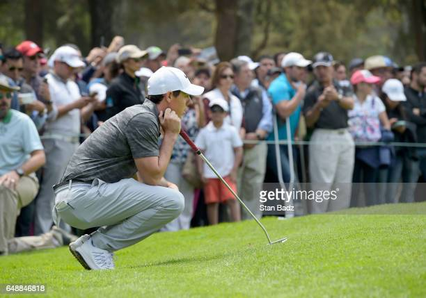 Rory McIlroy Northern Ireland studies his putt on the second hole during the final round of the World Golf ChampionshipsMexico Championship at Club...