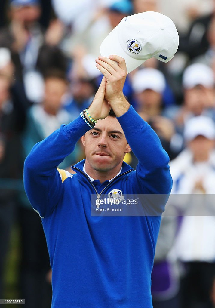 Rory McIlroy of Europe celebrates victory on the 14th hole during the Singles Matches of the 2014 Ryder Cup on the PGA Centenary course at the...