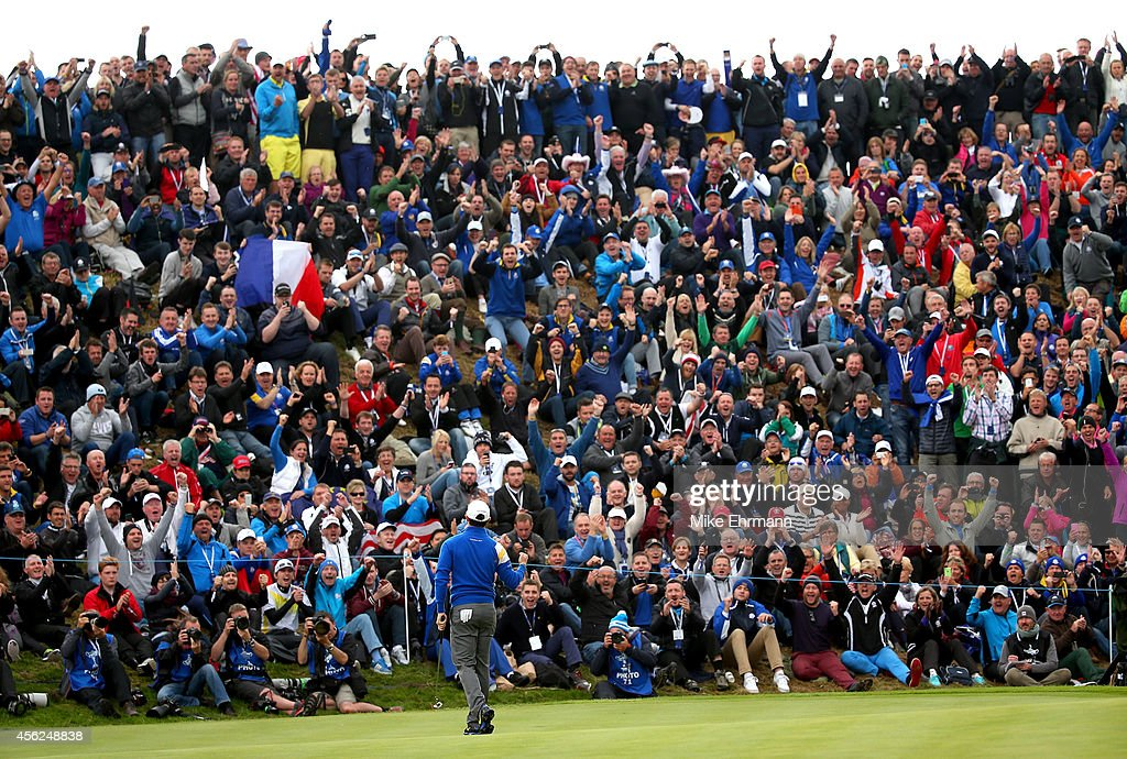 Rory McIlroy of Europe celebrates winning the 1st hole during the Singles Matches of the 2014 Ryder Cup on the PGA Centenary course at the Gleneagles...