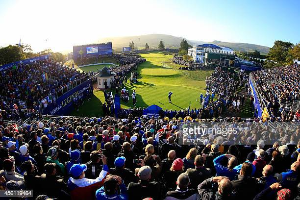Rory McIlroy of Europe hits his tee shot on the 1st hole during the Morning Fourballs of the 2014 Ryder Cup on the PGA Centenary course at the...