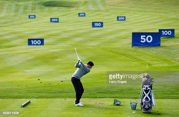 Rory McIlroy of Europe practices on the range ahead of the 2014 Ryder Cup on the PGA Centenary course at the Gleneagles Hotel on September 22 2014 in...