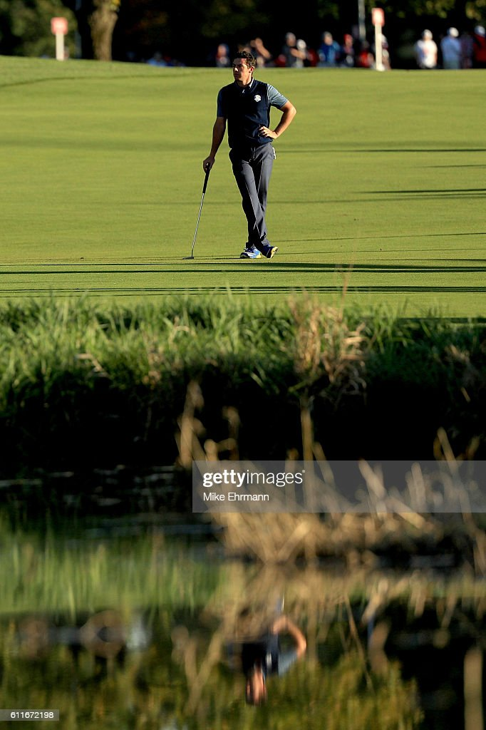 Rory McIlroy of Europe prepares to play a shot on the 16th hole during afternoon fourball matches of the 2016 Ryder Cup at Hazeltine National Golf Club on September 30, 2016 in Chaska, Minnesota.